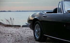 Picture black, Maserati, the door, 1969, Roadster, body, spider, on the shore, Ghibli Spider