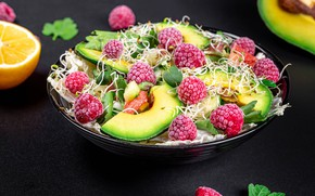 Picture sprouts, berries, raspberry, salad, avocado