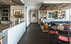 Picture interior, kitchen, vintage, living room, dining room, Contemporary Bachelor Pad, NONAGON style