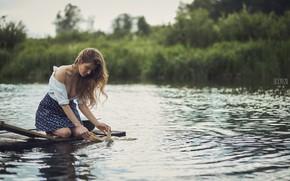 Picture water, hair, skirt, Girl, wash, Anya Fedotova, Nikita Orlov