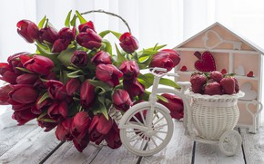 Picture love, bouquet, strawberry, hearts, tulips, red, red, love, wood, flowers, romantic, hearts, tulips, valentine's day, ...