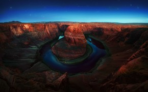 Picture the sky, stars, night, river, Colorado, AZ, USA, the Glen canyon, Horseshoe, Horseshoe Bend, meander, ...