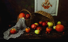 Picture apples, food, fruit, still life, items, grenades, embroidery, composition, baskets