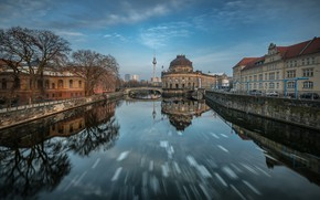 Picture the sky, bridge, the city, reflection, river, building, Germany, channel, architecture, promenade, Berlin
