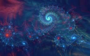 Picture purple, blue, abstraction, pattern, dark, spiral, fractal, ornament, математическая вселенная
