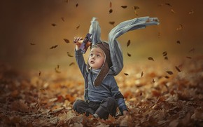 Picture autumn, leaves, toy, the game, boy, baby, art, child, pilot, airplane, Ксения Лысенкова