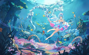 Picture girl, the ocean, Vocaloid, Vocaloid, reef, Hai Yi