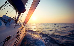 Picture sea, the sun, the way, the wind, morning, yacht, sail