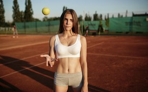 Picture girl, pose, hand, figure, shorts, topic, the ball, court, Alex Grisyuk