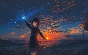 Picture girl, the sun, nature, star
