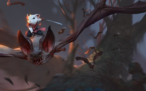 Picture trees, flight, weapons, mouse, fantasy, art, bats