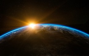 Picture the sun, space, sunrise, dawn, planet, Earth
