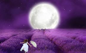 Picture night, umbrella, The moon, white dress, little girl, lavender pod