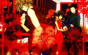 Picture guys, red background, Katekyo Hitman reborn, Teacher mafia Reborn