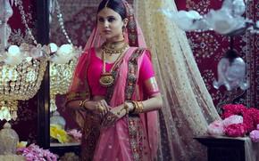 Picture girl, fashion, Smile, beautiful, figure, model, pretty, beauty, brunette, pose, cute, indian, makeup, sari, Jewellery, …
