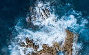 Picture sea, wave, water, landscape, nature, rocks, the view from the top