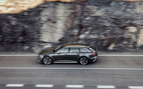 Picture movement, Audi, blur, side, universal, RS 6, 2020, 2019, dark gray, V8 Twin-Turbo, RS6 Avant