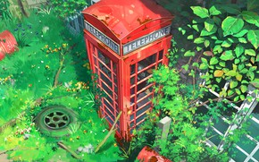 Picture thickets, green grass, red, phone booth, the wheels of the car, by lv