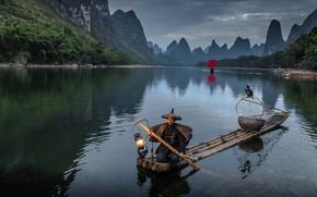 Picture light, oriental, trunks, canoe, paddle