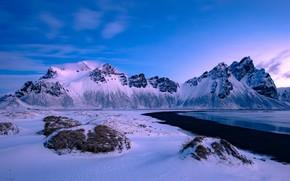 Picture winter, sea, snow, mountains, coast, Iceland, Iceland, Stokksnes, Have stoknes, Mountain Westerhorn, Fjord Hornafjordur, Vestrahorn …