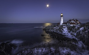 Picture winter, light, landscape, night, stones, the ocean, rocks, the moon, lighthouse, home, Portland, USA