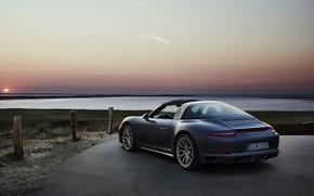 Picture sunset, Porsche, 4x4, Biturbo, Targa, special model, 911 Targa 4 GTS, Exclusive Manufaktur Edition