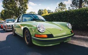 Picture lights, Porsche, Porsche, green, wheel, 911 Carrera RS, Carrera RS