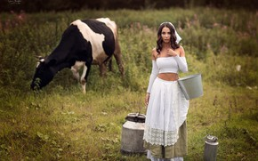 Picture girl, cow, meadow, bucket, cans, milkmaid, Anna Shuvalova