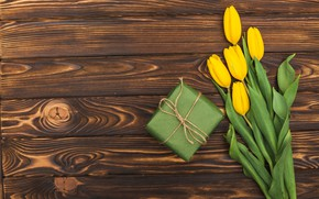 Picture gift, bouquet, yellow, tulip, bouguet