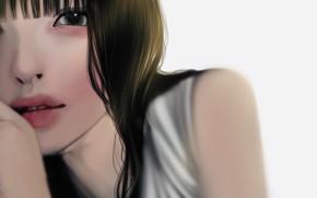 Picture girl, white background, dark hair