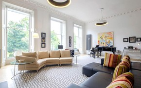 Picture interior, piano, sofas, living room