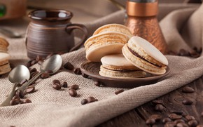 Picture coffee, grain, cookies, dessert, coffee, macaron, Natasha Breen, almond, Pasta