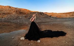 Picture look, water, girl, pose, rocks, hair, train, dress, Миронов Вадим