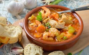 Picture fish, bread, garlic, ear