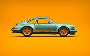 Picture Auto, Minimalism, 911, Porsche, Machine, Style, Car, Sports car, Side view, Singer, Transport & Vehicles, …