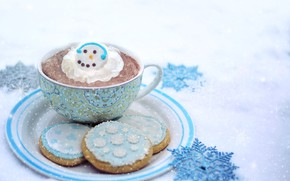 Picture winter, cookies, Cup, hot chocolate, whipped cream