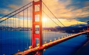 Picture city, lights, USA, Golden Gate Bridge, sky, sea, landscape, bridge, sunset, California, clouds, San Francisco, …