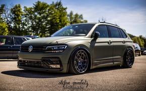 Picture machine, the sky, asphalt, tuning, Volkswagen, wheels, drives, side, tuning, stens, Tiguan, Volkswagen Tiguan, green …