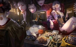 Picture eyes, Japanese, chair, face, brain, monitor, kimono, cyborg, the exoskeleton, trade, shop, art, spare parts, …