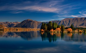 Picture trees, landscape, mountains, nature, lake, New Zealand, reservoir, Lake Ruataniwha