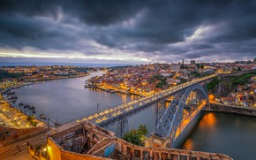 Wallpaper the sky, clouds, clouds, bridge, lights, river, home, the evening, lights, Portugal, the view from ...