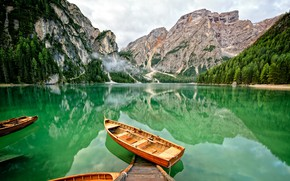 Picture forest, water, mountains, lake, boats
