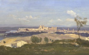 Picture landscape, picture, panorama, Camille Corot, Jean-Baptiste-Camille Corot, Avignon. View from West