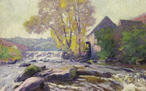 Picture landscape, picture, Paul Madeline, Paul Madeline, Mill in Corzine