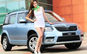 Picture auto, look, Girls, Asian, beautiful girl, posing on the car, Skoda Yeti