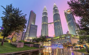 Picture the city, lake, river, Malaysia, Kuala Lumpur, pink sky