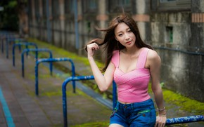 Picture look, sexy, pose, model, shorts, portrait, makeup, Mike, figure, hairstyle, brown hair, Asian, bokeh