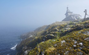 Picture sea, greens, fog, stones, open, moss, construction, haze