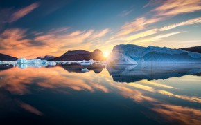Picture ice, the sky, the sun, clouds, sunset, reflection, glacier, iceberg, ice, North, pond, Greenland