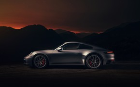 Picture coupe, 911, Porsche, Carrera 4S, 992, 2019, the silhouettes of the mountains